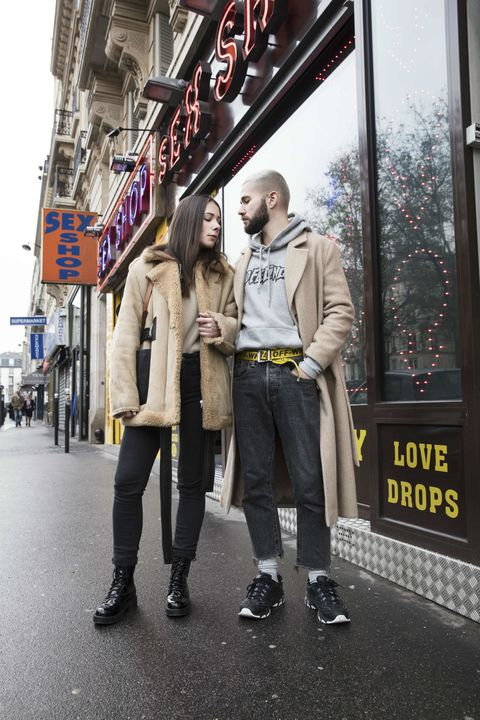 Clothing, Footwear, Trousers, Jacket, Outerwear, Coat, Style, Street fashion, Street, Interaction,