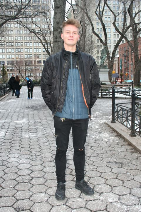 Clothing, Jacket, Winter, Trousers, Denim, Textile, Standing, Outerwear, Style, Street fashion,