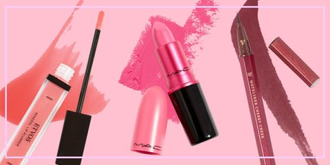 Pink, Cosmetics, Lipstick, Red, Beauty, Lip gloss, Lip, Material property, Mascara, Tints and shades,