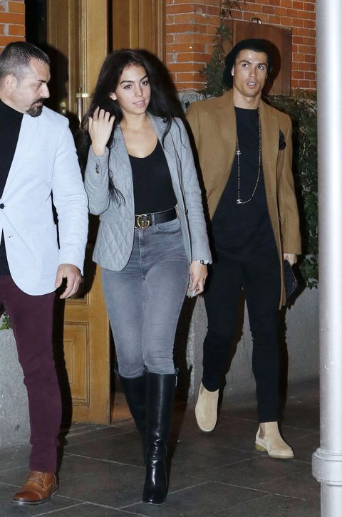 Real Madrid football player Cristiano Ronaldo and his girlfriend Georgina Rodriguez are seen leaving a restaurant on January 30, 2017 in Madrid, Spain.