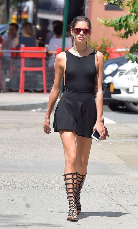 Clothing, Eyewear, Shoulder, Human leg, Dress, Joint, Sunglasses, Style, Street fashion, Fashion accessory,