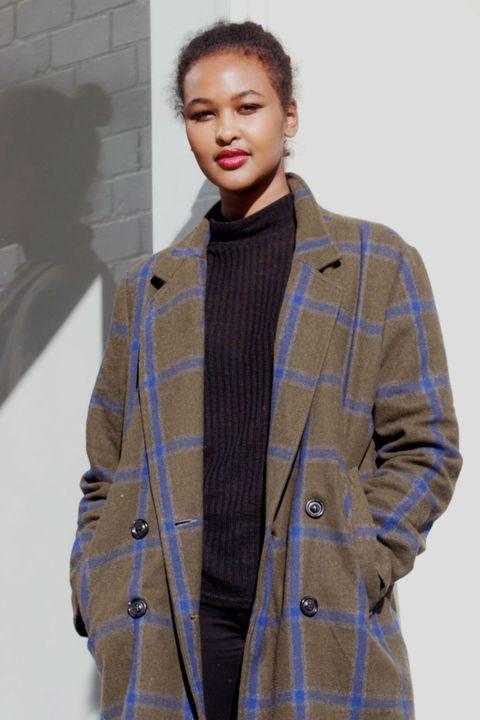 Clothing, Outerwear, Fashion, Overcoat, Coat, Plaid, Jacket, Pattern, Khaki, Woolen,