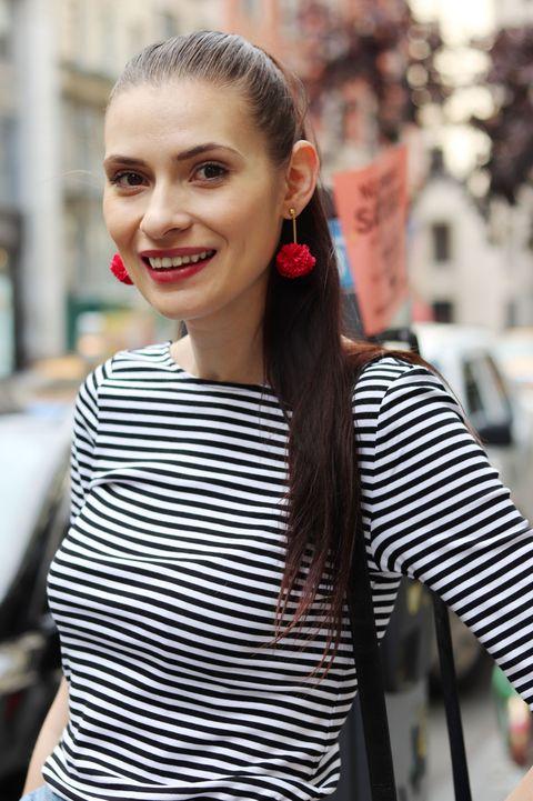 Hair, Face, Street fashion, Fashion, Hairstyle, Beauty, Lip, Ear, Black-and-white, Audio equipment,