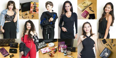 Fashion, Footwear, Dress, Little black dress, Collage, Fashion accessory, Fashion design, Style, Black hair,