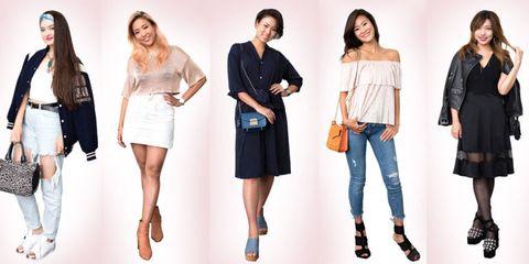 Clothing, Shoulder, Fashion model, Fashion, Dress, Jeans, Footwear, Joint, Denim, Waist,