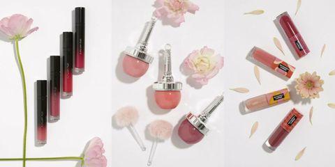 Pink, Lipstick, Cosmetics, Product, Beauty, Lip gloss, Material property, Peach, Tints and shades, Nail polish,