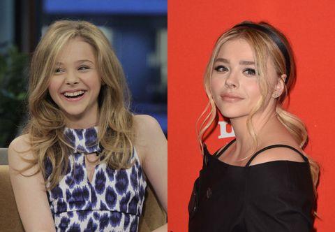 """<p>右の写真は2010年、映画『キック・アス』が公開になる数日前、トークバラエティに出演した時。まさにブレイク直前のクロエは、とってもマチュア! な13歳。左の写真は先月、サンダンス映画祭にて。年齢に関係なく、ヘア&メイクで変身するのが上手な、センス抜群のクロエ。<span class=""""redactor-invisible-space"""" data-verified=""""redactor"""" data-redactor-tag=""""span"""" data-redactor-class=""""redactor-invisible-space""""></span></p>"""