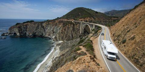 Coastal and oceanic landforms, Road, Mountainous landforms, Coast, Infrastructure, Highland, Hill, Highway, Bridge, Road surface,