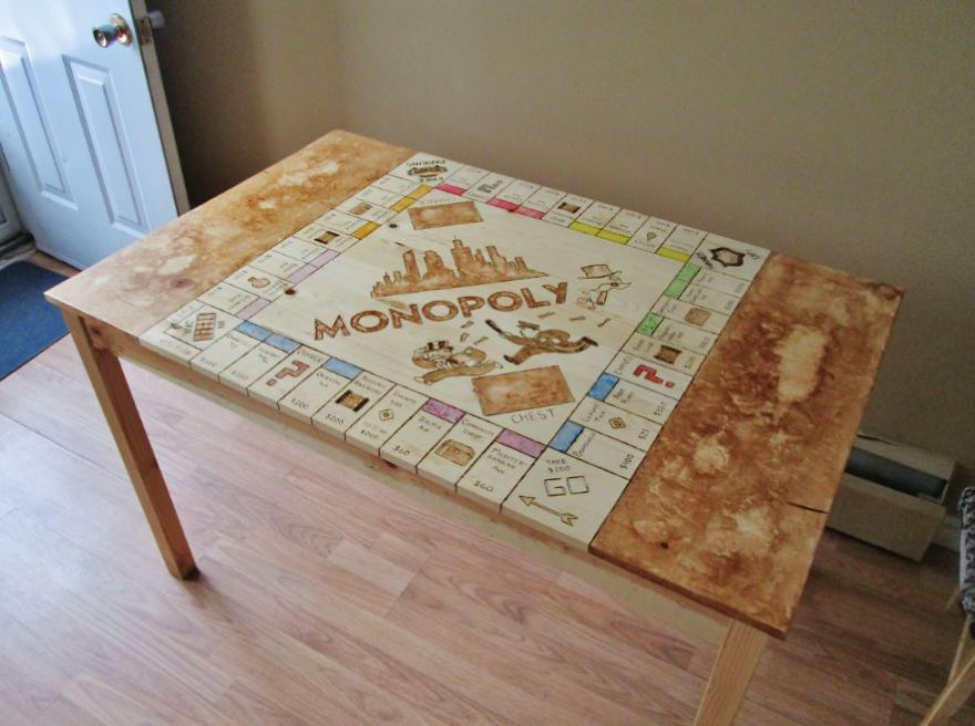 See This Plain Kitchen Table Transform Into A Giant Monopoly Board Diy Projects