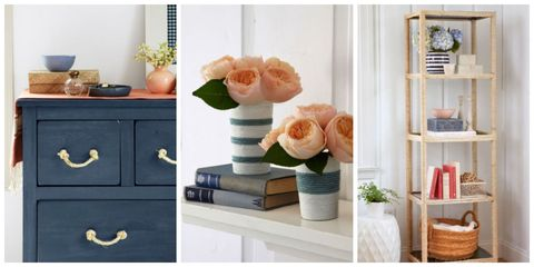 Room, Peach, Petal, Interior design, Shelving, Basket, Flowerpot, Teal, Home accessories, Flowering plant,