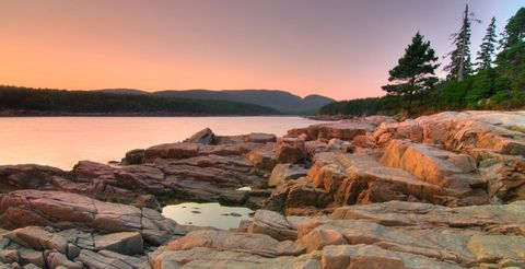 Shore, Coastal and oceanic landforms, Rock, Landscape, Natural landscape, Bank, Bedrock, Dusk, Evening, Sunset,