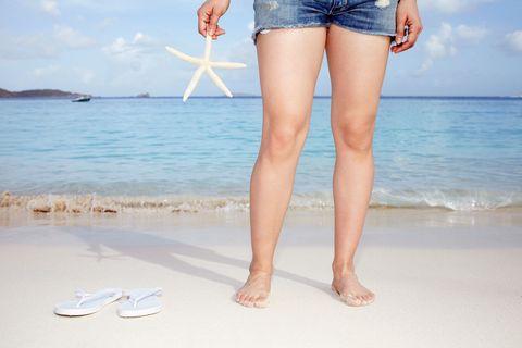Coastal and oceanic landforms, Human leg, Denim, Toe, Summer, Waist, People in nature, Ocean, People on beach, Beach,