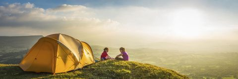 Tent, People in nature, Grassland, Ecoregion, Sunlight, Camping, Tints and shades, Morning, Fell, Tarpaulin,