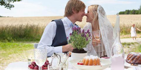 Serveware, Bridal veil, Dishware, Photograph, Veil, Bride, Happy, Bridal clothing, Cuisine, Wedding dress,
