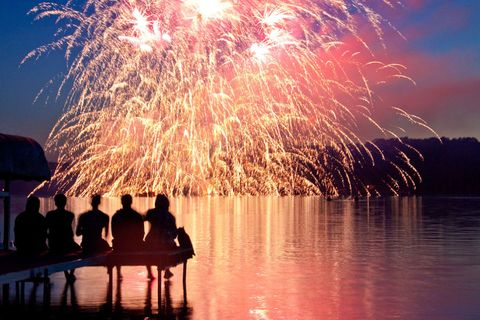 Reflection, Fireworks, Midnight, Holiday, Lake, New year's eve, Festival, New year, New Years Day, Evening,