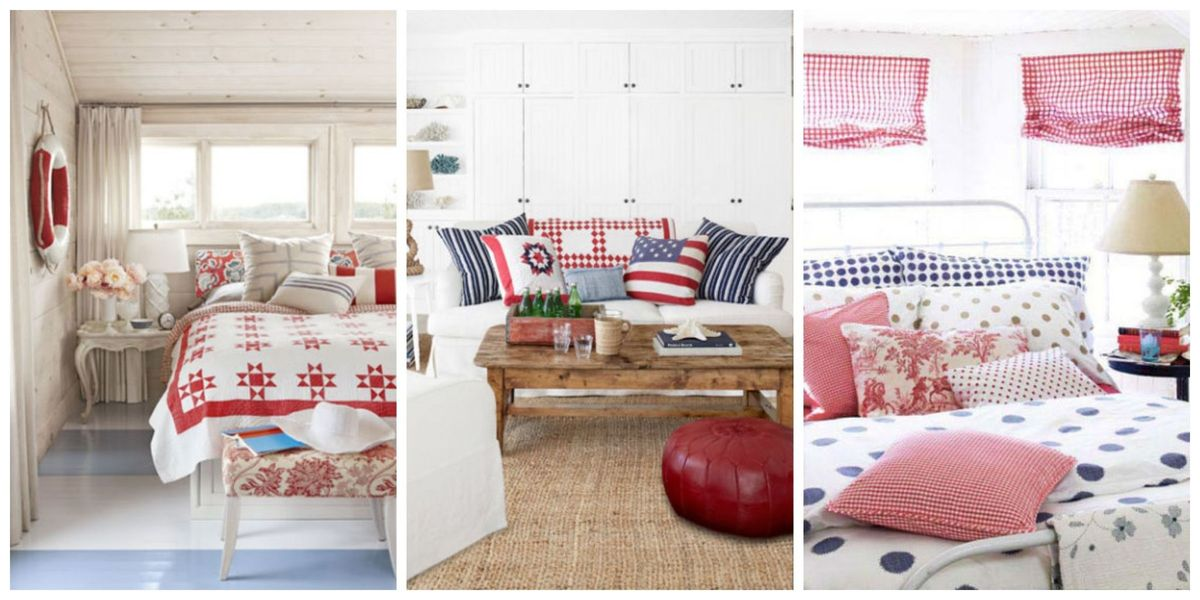 Patriotic decor 4th of july red white and blue for Red and blue room decor