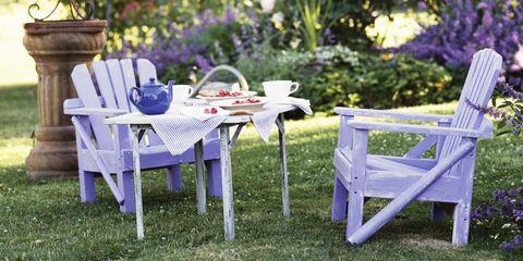 Outdoor furniture, Furniture, Table, Purple, Outdoor table, Lavender, Garden, Violet, Majorelle blue, Shrub,