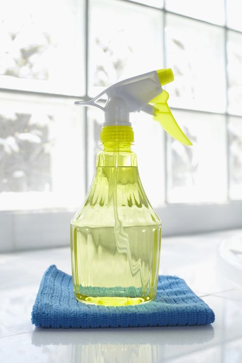 """Here's <a target=""""_blank"""" href=""""http://www.goodhousekeeping.com/home/cleaning/tips/a24885/make-at-home-cleaners/"""">the cleaner recipe</a> that will make nearly every surface gleam (especially kitchen counters, appliances, and inside the refrigerator). Combine 4 tablespoons <a target=""""_blank"""" href=""""http://www.goodhousekeeping.com/home/cleaning/tips/a24885/make-at-home-cleaners/"""">baking soda</a> and 1 quart warm water, and use it with a sponge to wipe messes away."""