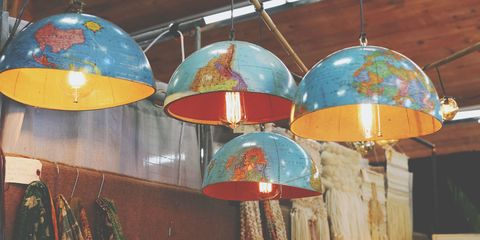 Blue, Lighting accessory, Light fixture, Interior design, Orange, Idiophone, Teal, World, Turquoise, Aqua,