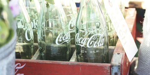 Coca-cola, Cola, Drink, Glass bottle, Carbonated soft drinks, Bottle, Soft drink, Coca, Glass, Plant,