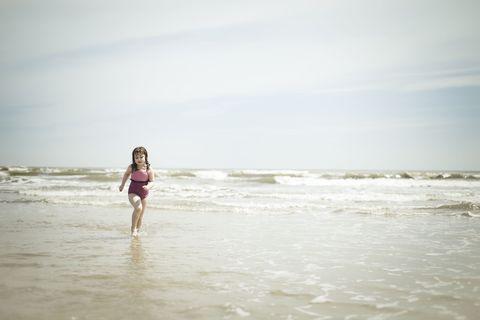 girl on the beach in galveston, texas