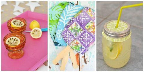 Yellow, Drink, Home accessories, Peach, Juice, Ingredient, Mason jar, Drinking straw, Creative arts, Produce,