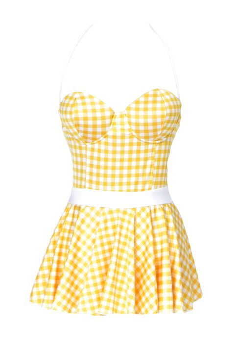 Clothing, Product, Yellow, Sleeve, Pattern, Textile, White, Dress, One-piece garment, Style,