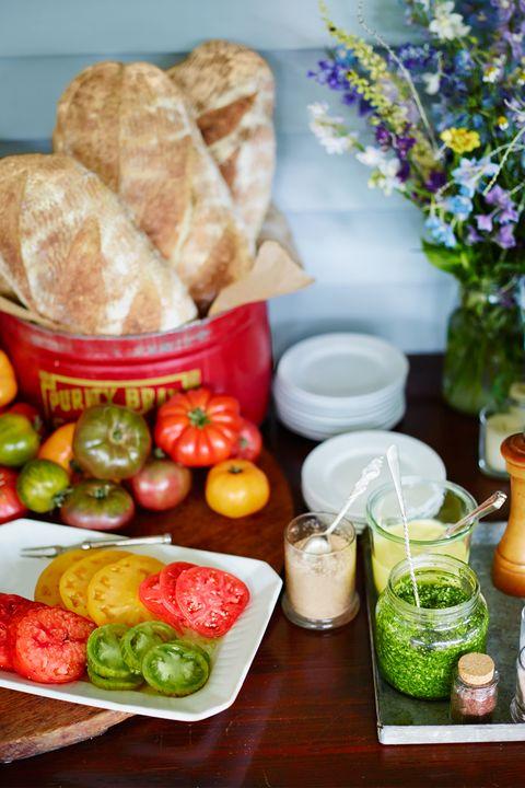 Food, Bell pepper, Ingredient, Meal, Flowerpot, Tableware, Bread, Produce, Serveware, Food group,