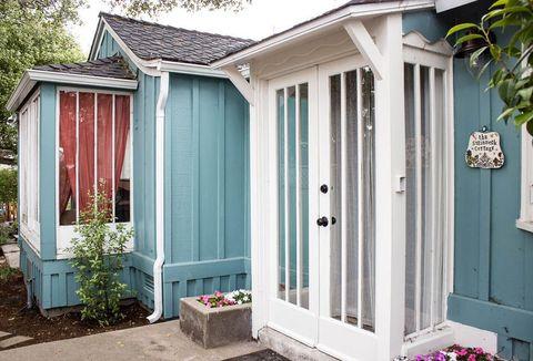 Wood, Property, House, Door, Real estate, Fixture, Home door, Roof, Home, Teal,