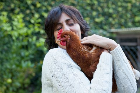 Woman cuddling with chicken