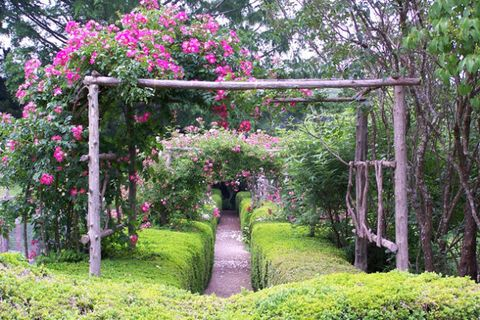 "Follow over a quarter mile of manicured hedges through this traditional English-style garden, which boasts a rose arbor and (here's a new vocab word for you) a ""ha ha"" — a recessed garden wall that doesn't block views.