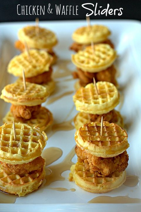 """Make mini chicken and waffle sliders for a fun brunch. (But really, we'd take any excuse to eat these babies.)  Get the recipe from <a target=""""_blank"""" href=""""http://foodfolksandfun.net/2014/01/game-day-eats-chicken-waffle-sliders/"""">Food, Folks, and Fun</a>."""