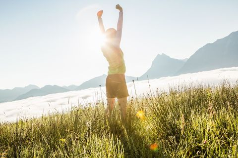 People in nature, Summer, Elbow, Sunlight, Vacation, Mountain range, Morning, Meadow, Undergarment, Back,