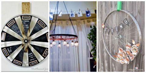 Bicycle wheel rim, Bicycle tire, Rim, Spoke, Bicycle wheel, Iron, Light fixture, Metal, Ceiling fixture, Bicycle part,