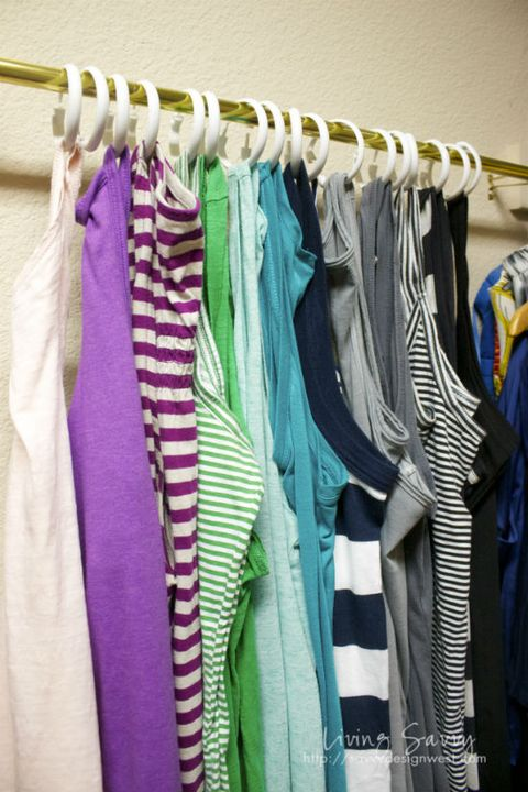 Textile, Room, Purple, Clothes hanger, Violet, Lavender, Closet, Fashion design, Collection, Backpack,