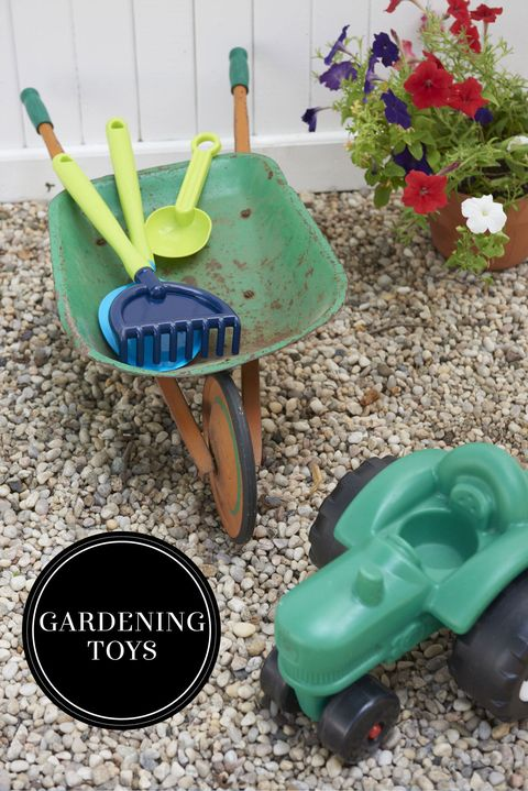 "<p>Toys with wheels are perfect for always-on-the-move toddlers exploring the backyard. Little ones will love hauling their toys (or their very own gardening tools!) in this wee wheelbarrow.</p><p><em>Henry Vintage tractor, <a href=""http://henryinhudson.com/"" target=""_blank"">henryinhudson.com</a>; Fred E. Trout vintage wheelbarrow</em><br></p>"