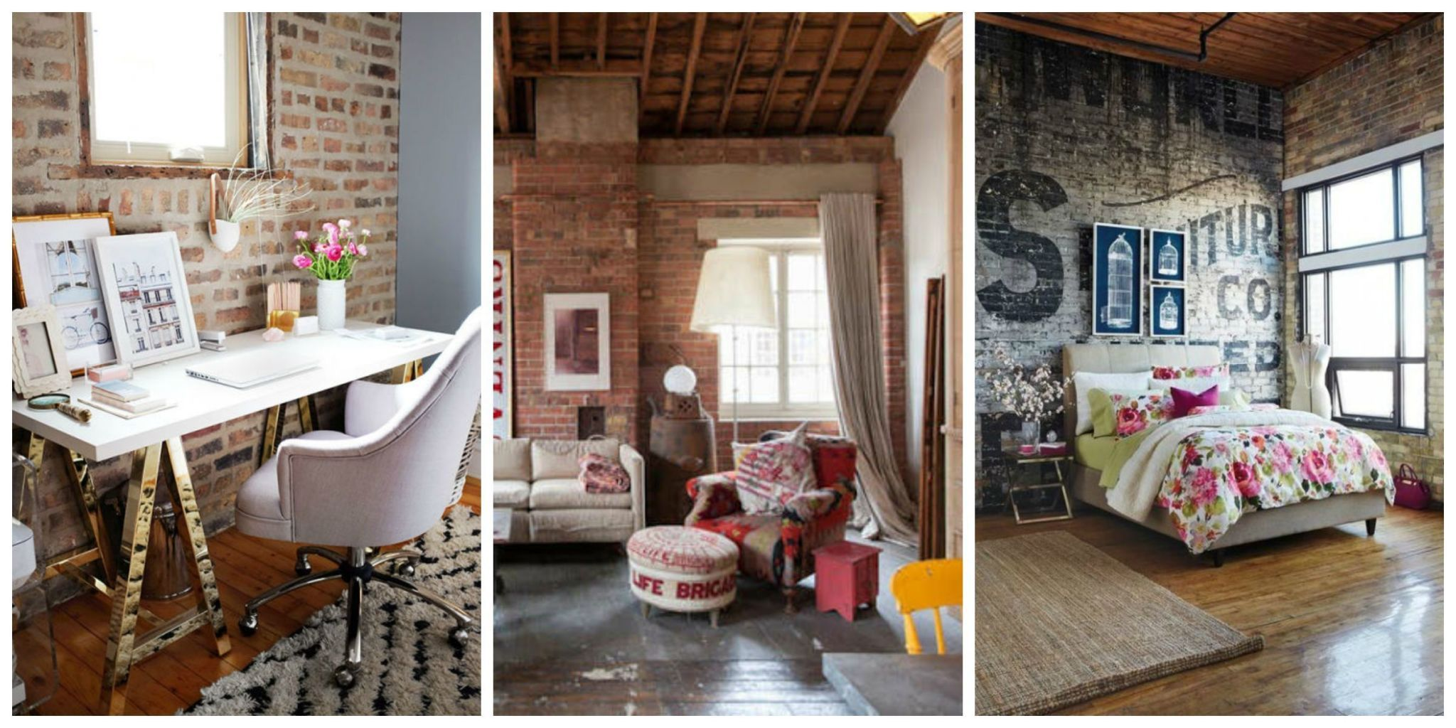 brick living room furniture. these walls are great on their own but it never hurts to add a little flare