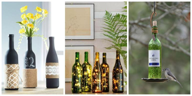 24 diy wine bottle crafts empty wine bottle decoration ideas for Empty bottle decoration ideas
