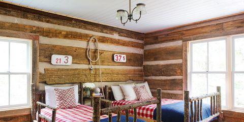 Wood, Room, Bed, Interior design, Lighting, Hardwood, Floor, Wall, Property, Bedding,