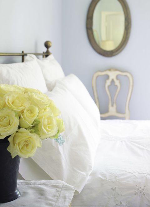 Yellow, Petal, Textile, Photograph, Room, Bouquet, Interior design, Linens, Cut flowers, Mirror,