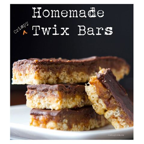 """<p>The only thing better than candy corn Rice Krispie treats is candy corn Rice Krispie treats on a stick!</p> <p><strong>Get the recipe from <a href=""""http://ohsheglows.com/2012/10/25/homemade-crispy-twix-bars/"""" target=""""_blank"""">Oh She Glows</a>.</strong></p>"""