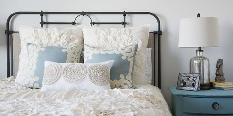 Blue, Product, Room, Bed, Bedding, Bedroom, Textile, Wall, Bed sheet, Furniture,