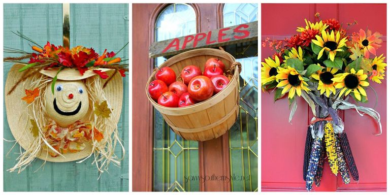 let fall be the season of creativity with these out of the box ideas that will instantly up your homes curb appeal plus get our best fall wreath ideas - Fall Door Decorations