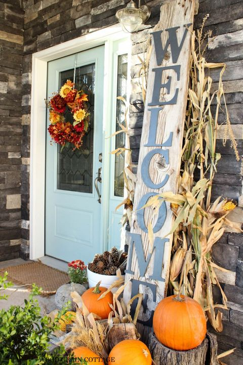 Fall Porch Decorating Ideas Welcome Sign