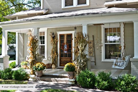 Fall Porch Decorating Ideas Corn Stalks