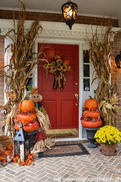 Fall Porch Decorating Ideas Pumpkin Display