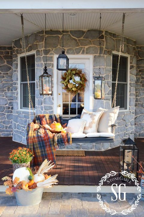 fall porch decorating ideas porch swing