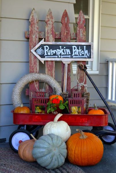 fall porch decorating ideas red wagon