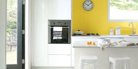 Room, Property, Major appliance, Floor, Plumbing fixture, Fixture, Countertop, Kitchen, Wall clock, Tap,