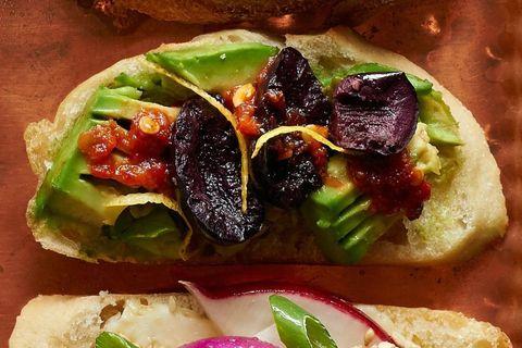 Avocado and Olive Crostini